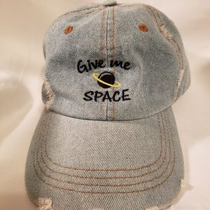 """""""Give Me Space"""" Unisex Distressed Denim Hat"""